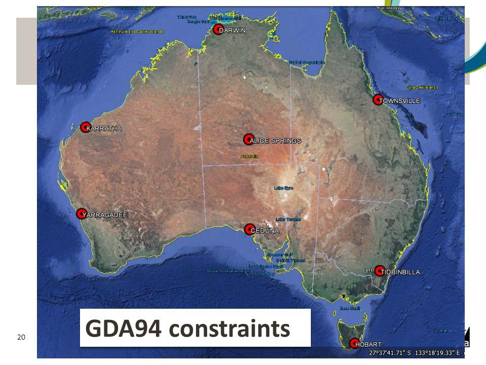 GDA94 – Present foundation 21 Present constraints