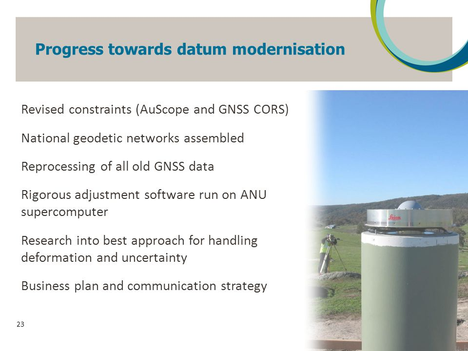 Progress towards datum modernisation 23 Revised constraints (AuScope and GNSS CORS) National geodetic networks assembled Reprocessing of all old GNSS data Rigorous adjustment software run on ANU supercomputer Research into best approach for handling deformation and uncertainty Business plan and communication strategy