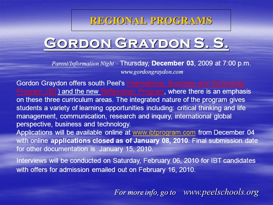 REGIONAL PROGRAMS Gordon Graydon S. S.