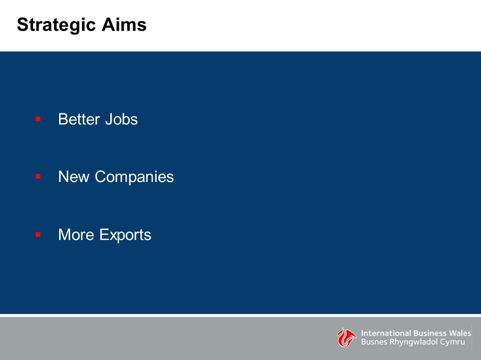Strategic Aims  Better Jobs  New Companies  More Exports