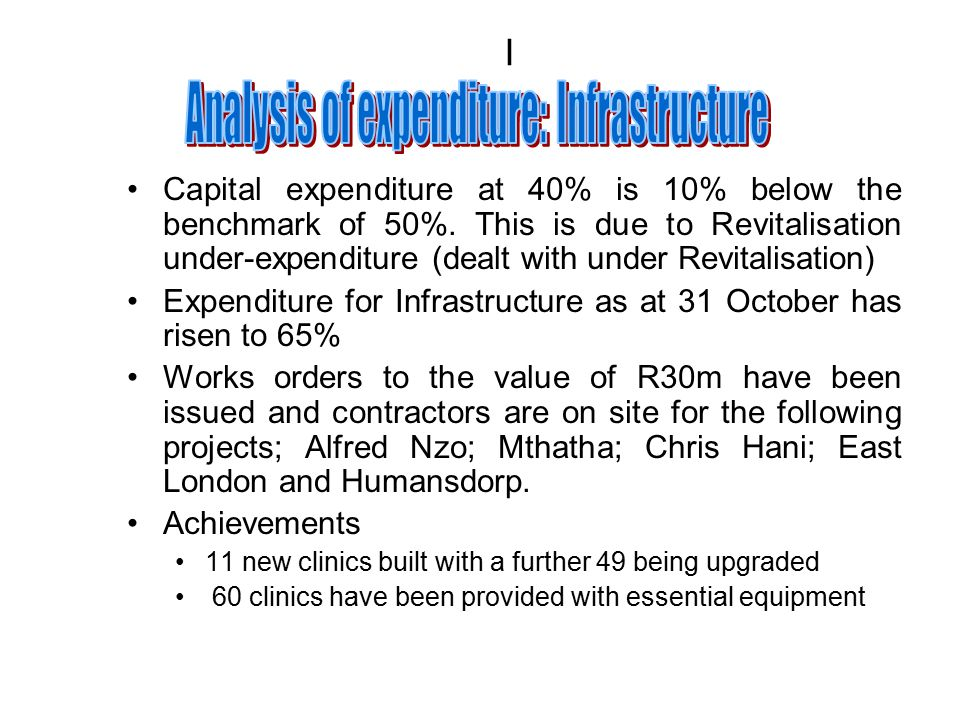 I Capital expenditure at 40% is 10% below the benchmark of 50%.