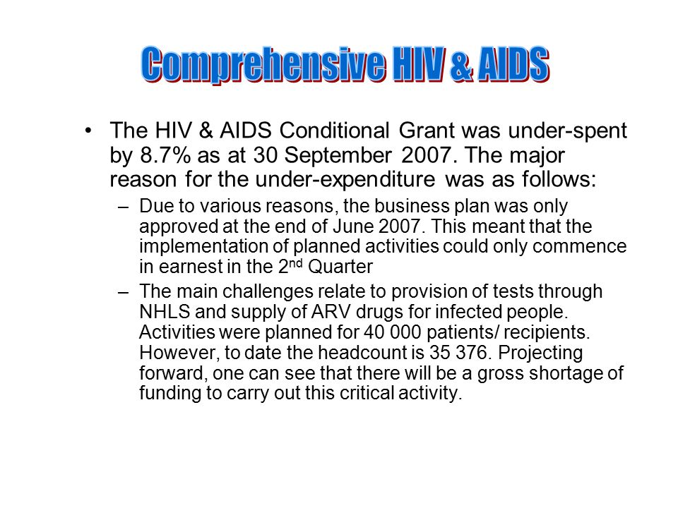 The HIV & AIDS Conditional Grant was under-spent by 8.7% as at 30 September 2007.