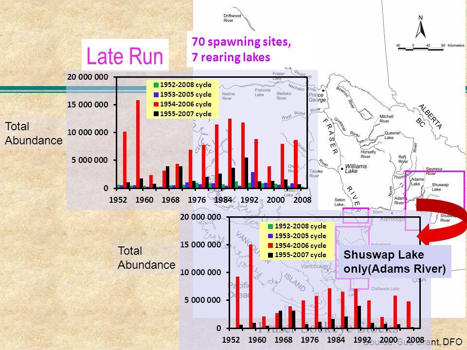 Late Run Fraser Sockeye Stocks Source: Sue Grant, DFO Total Abundance Total Abundance Shuswap Lake only(Adams River) 70 spawning sites, 7 rearing lakes