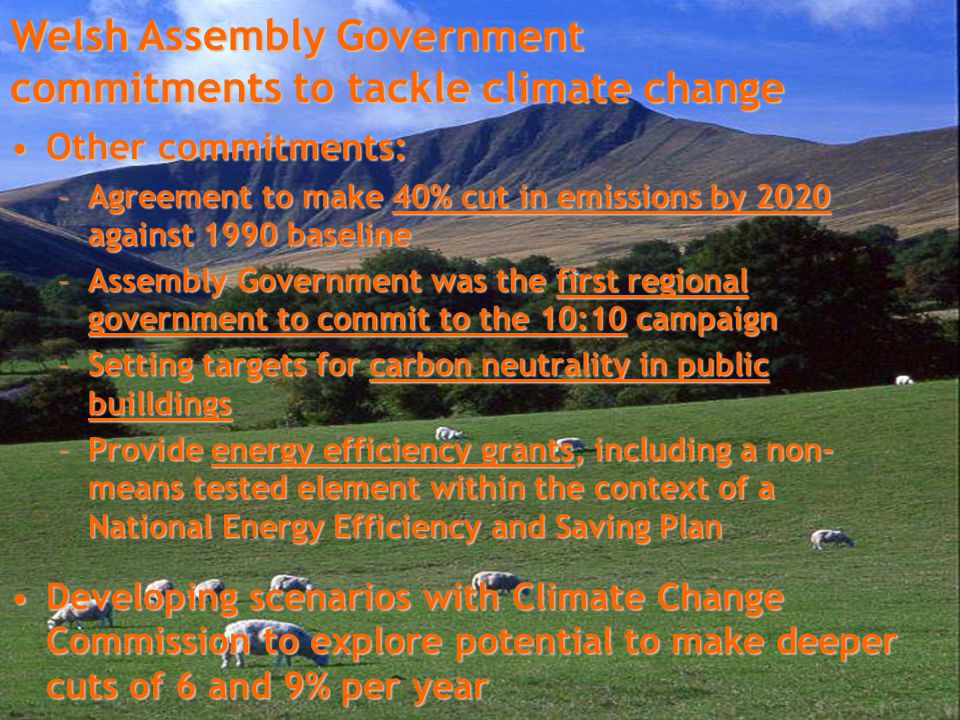 Other commitments:Other commitments: –Agreement to make 40% cut in emissions by 2020 against 1990 baseline –Assembly Government was the first regional government to commit to the 10:10 campaign –Setting targets for carbon neutrality in public builldings –Provide energy efficiency grants, including a non- means tested element within the context of a National Energy Efficiency and Saving Plan Developing scenarios with Climate Change Commission to explore potential to make deeper cuts of 6 and 9% per yearDeveloping scenarios with Climate Change Commission to explore potential to make deeper cuts of 6 and 9% per year Welsh Assembly Government commitments to tackle climate change