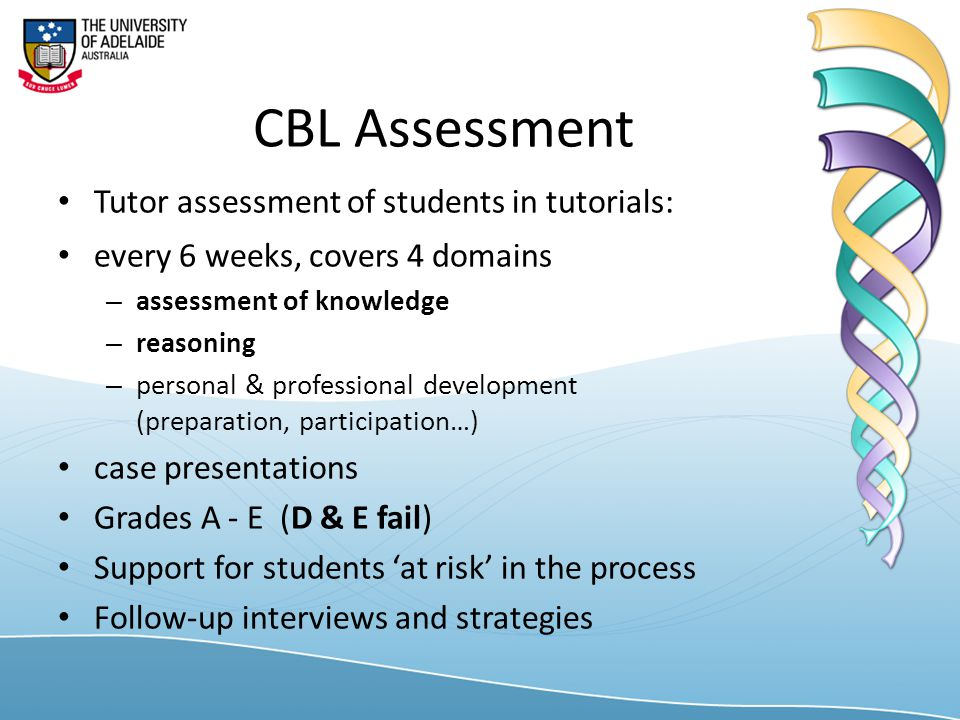 CBL Assessment Tutor assessment of students in tutorials: every 6 weeks, covers 4 domains – assessment of knowledge – reasoning – personal & professional development (preparation, participation…) case presentations Grades A - E (D & E fail) Support for students 'at risk' in the process Follow-up interviews and strategies