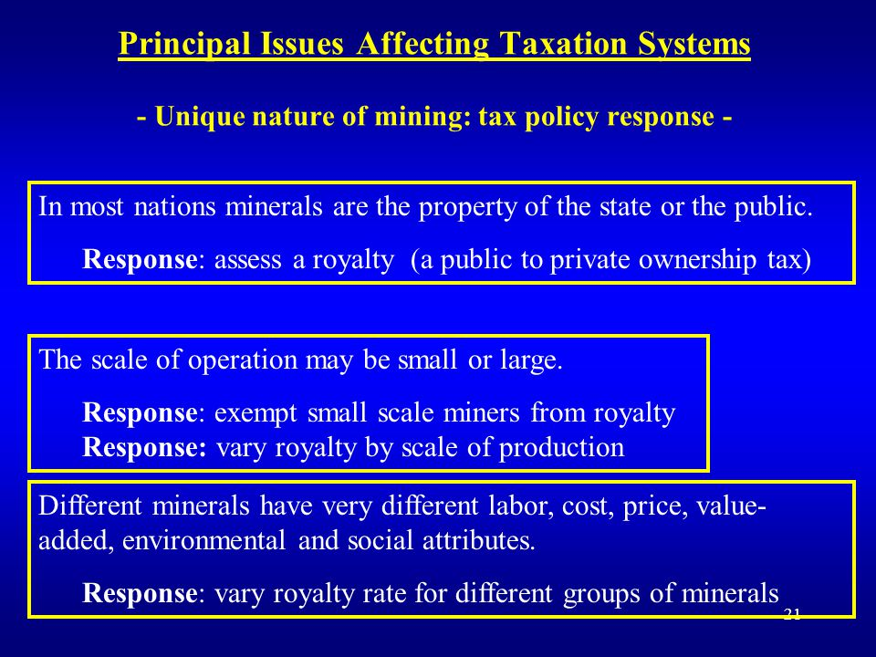 21 Principal Issues Affecting Taxation Systems - Unique nature of mining: tax policy response - In most nations minerals are the property of the state or the public.