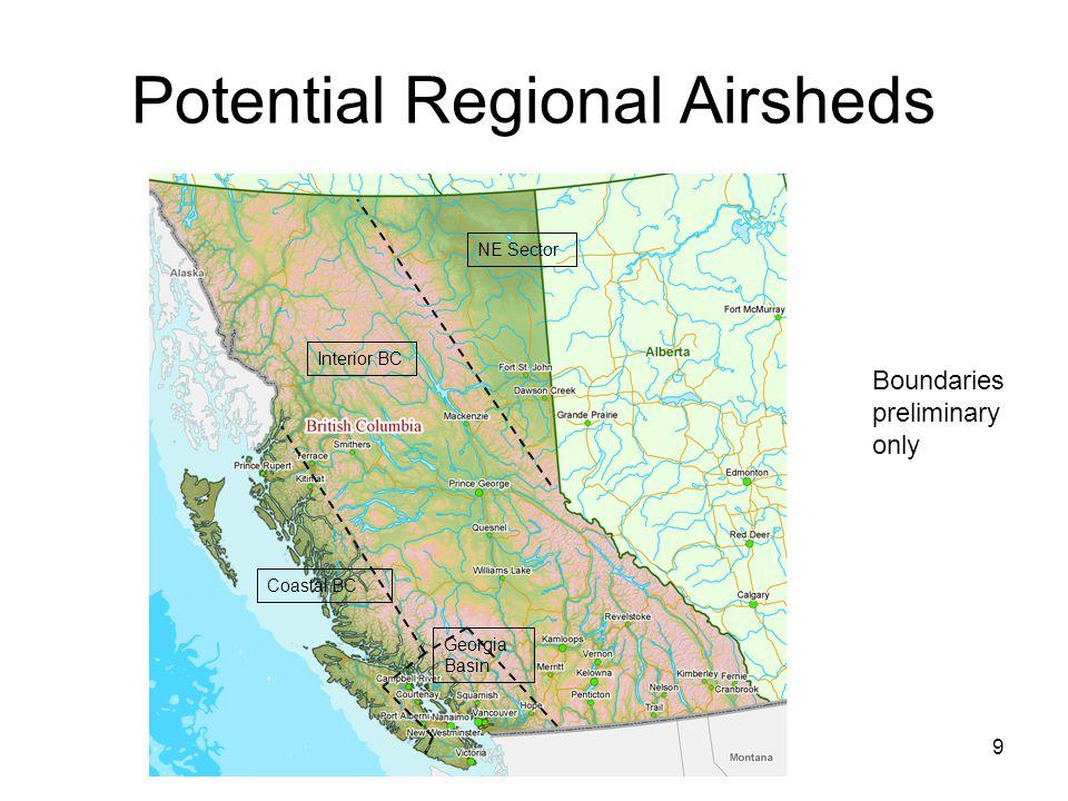 9 NE Sector Interior BC Georgia Basin Coastal BC Potential Regional Airsheds Boundaries preliminary only