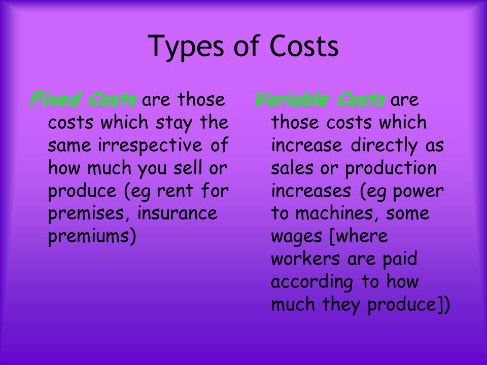 Types of Costs Fixed Costs are those costs which stay the same irrespective of how much you sell or produce (eg rent for premises, insurance premiums)