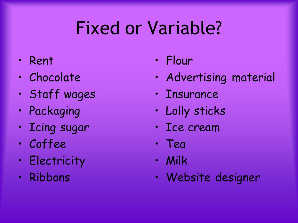 Fixed or Variable? Rent Chocolate Staff wages Packaging Icing sugar Coffee Electricity Ribbons Flour Advertising material Insurance Lolly sticks Ice c