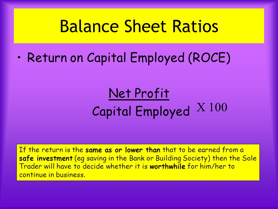 Balance Sheet Ratios Return on Capital Employed (ROCE) Net Profit Capital Employed X 100 If the return is the same as or lower than that to be earned