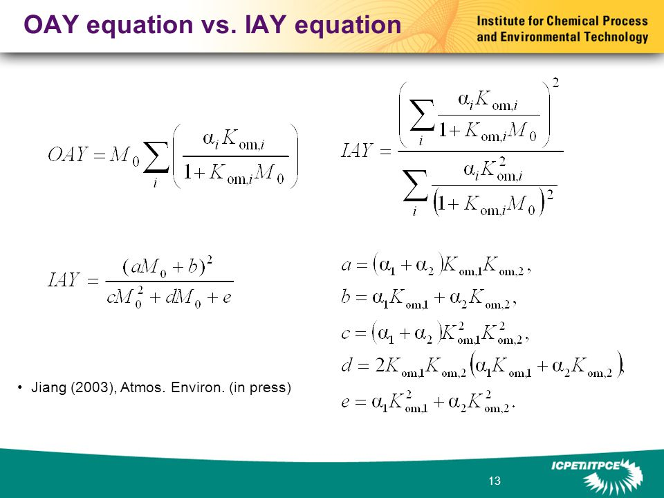 13 OAY equation vs. IAY equation Jiang (2003), Atmos. Environ. (in press)