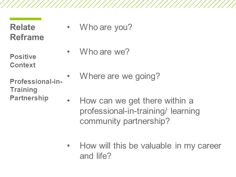 Relate Reframe Positive Context Professional-in- Training Partnership Who are you.
