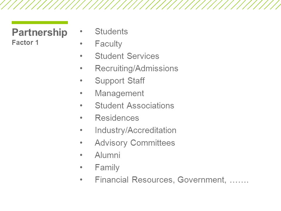 Partnership Factor 1 Students Faculty Student Services Recruiting/Admissions Support Staff Management Student Associations Residences Industry/Accreditation Advisory Committees Alumni Family Financial Resources, Government, …….