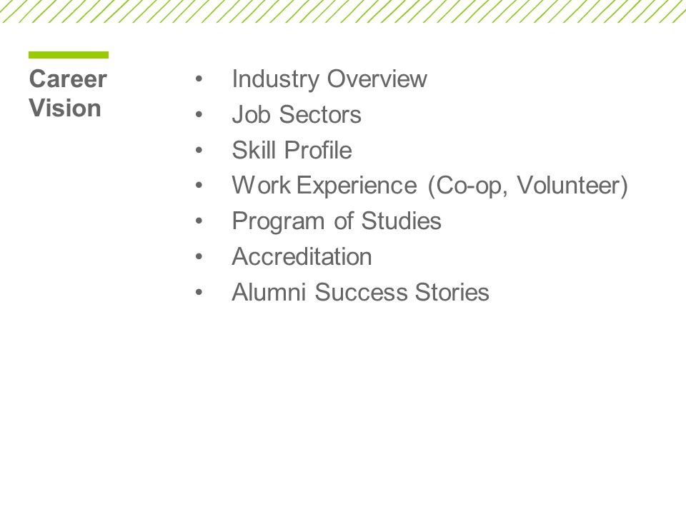 Career Vision Industry Overview Job Sectors Skill Profile Work Experience (Co-op, Volunteer) Program of Studies Accreditation Alumni Success Stories