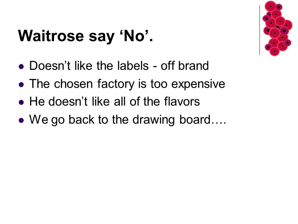Waitrose say 'No'.