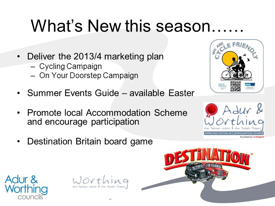 What's New this season…… Deliver the 2013/4 marketing plan –Cycling Campaign –On Your Doorstep Campaign Summer Events Guide – available Easter Promote local Accommodation Scheme and encourage participation Destination Britain board game