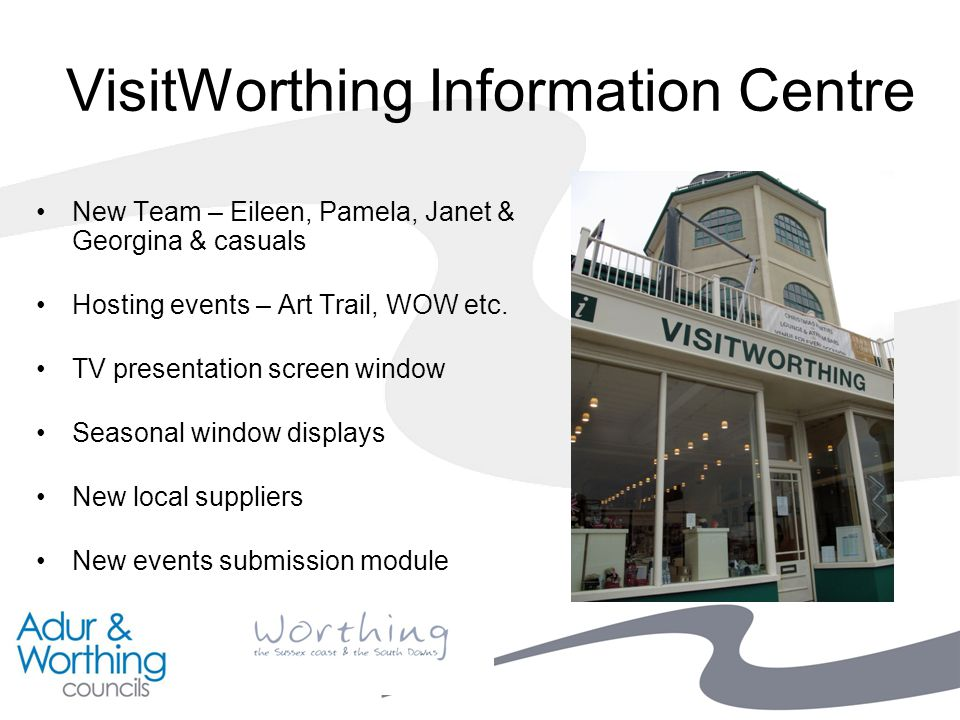 VisitWorthing Information Centre New Team – Eileen, Pamela, Janet & Georgina & casuals Hosting events – Art Trail, WOW etc.