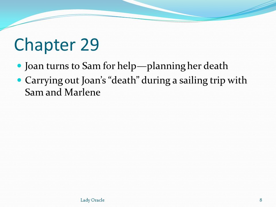 Chapter 29 Joan turns to Sam for help—planning her death Carrying out Joan's death during a sailing trip with Sam and Marlene 8Lady Oracle