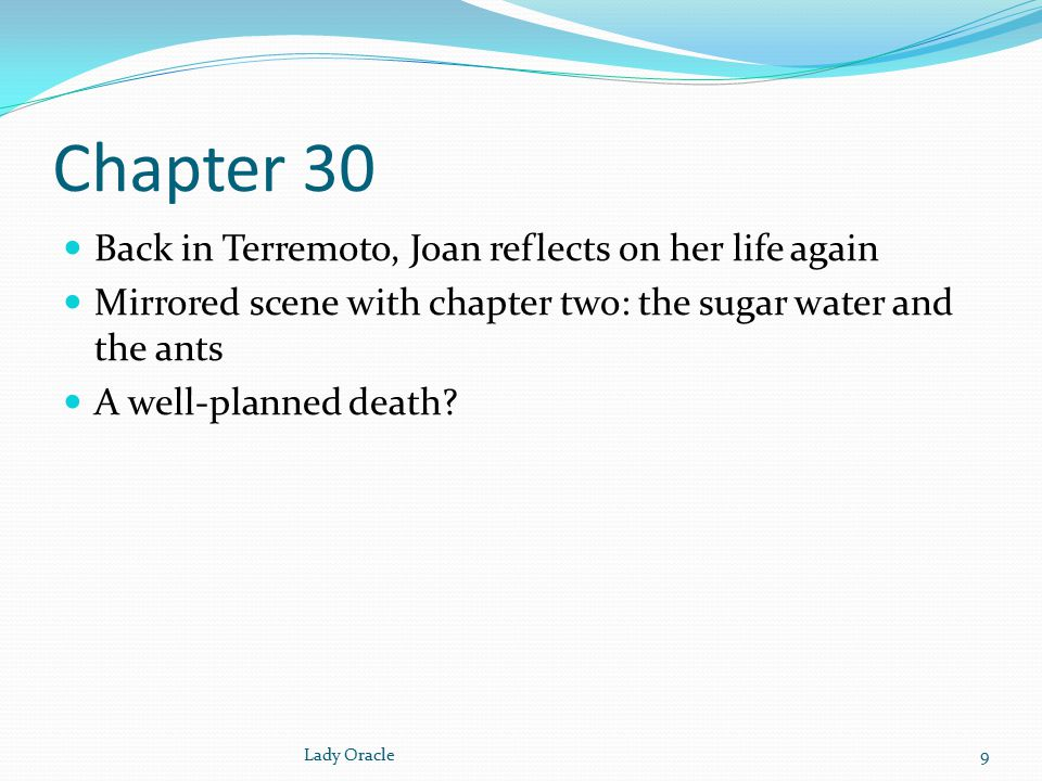 Chapter 31 Joan again tries to write Transformation: from identifying with Charlotte to identifying with Felicia.