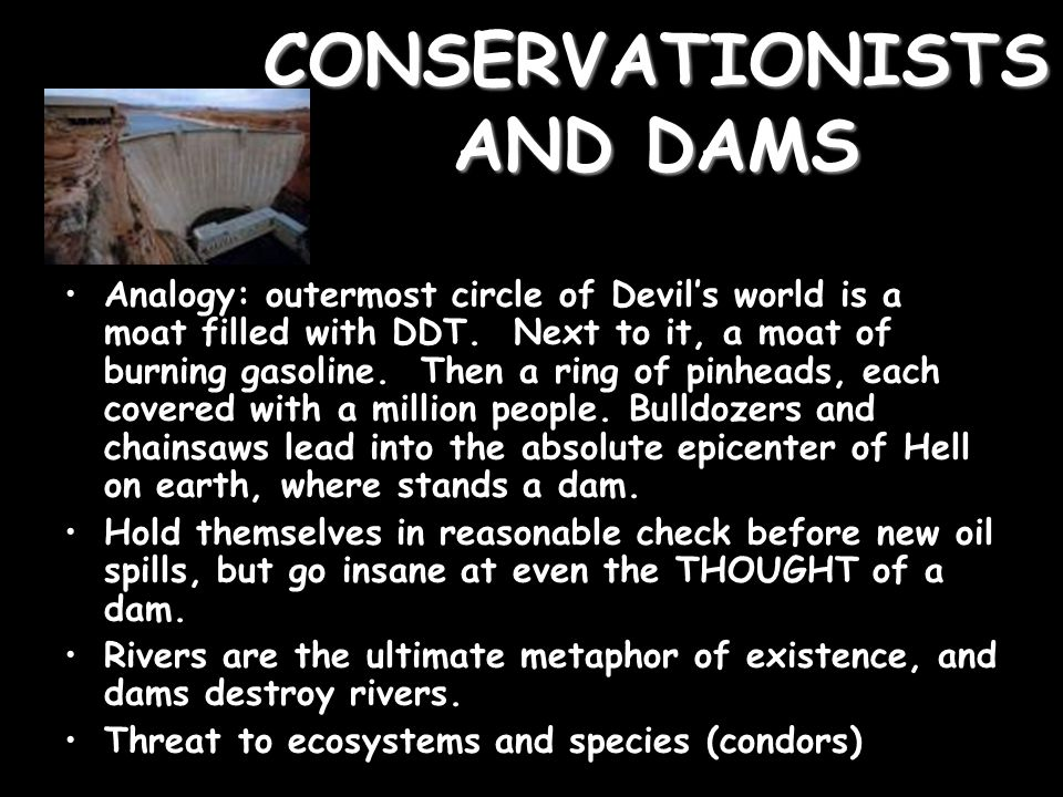CONSERVATIONISTS AND DAMS Analogy: outermost circle of Devil's world is a moat filled with DDT.