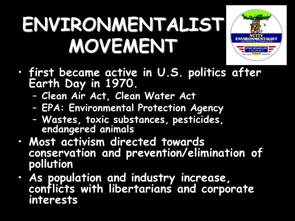 ENVIRONMENTALIST MOVEMENT first became active in U.S.