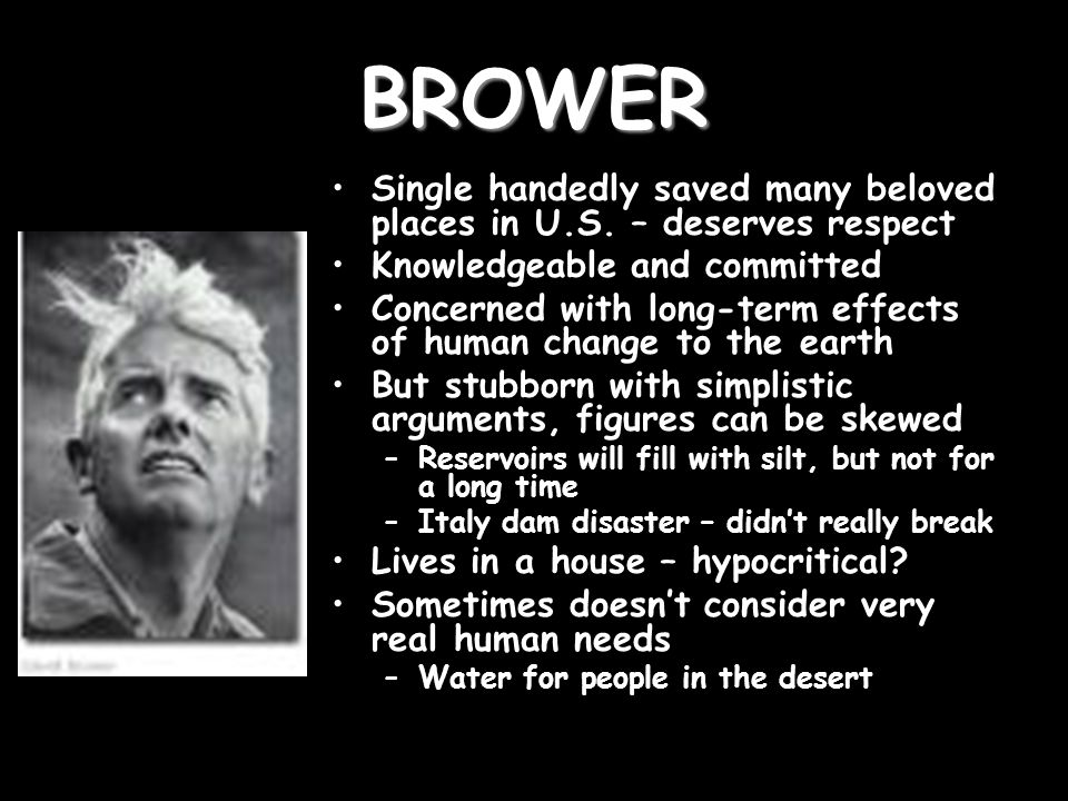 BROWER Single handedly saved many beloved places in U.S.