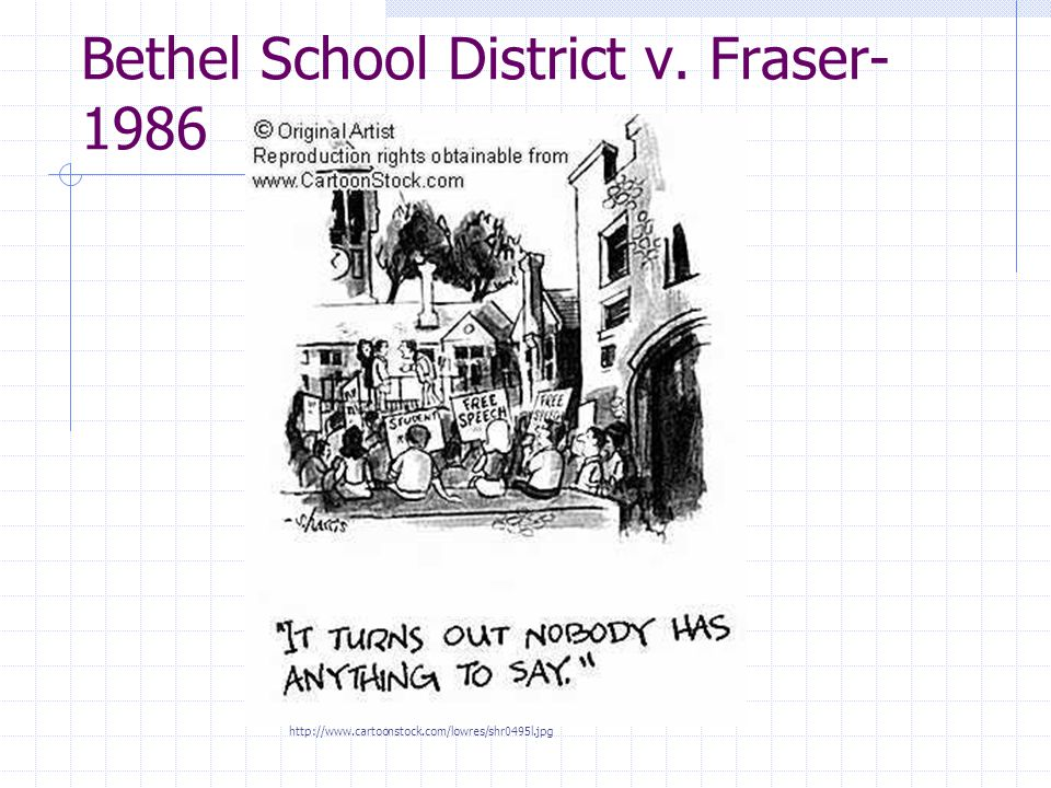 Bethel School District v. Fraser- 1986 http://www.cartoonstock.com/lowres/shr0495l.jpg