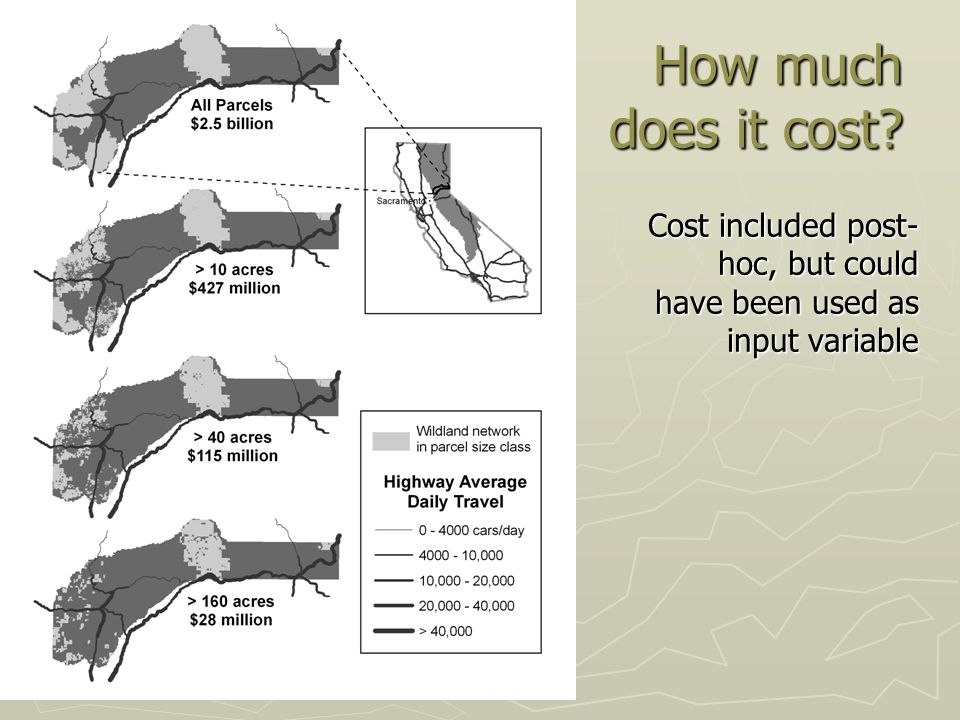How much does it cost? Cost included post- hoc, but could have been used as input variable