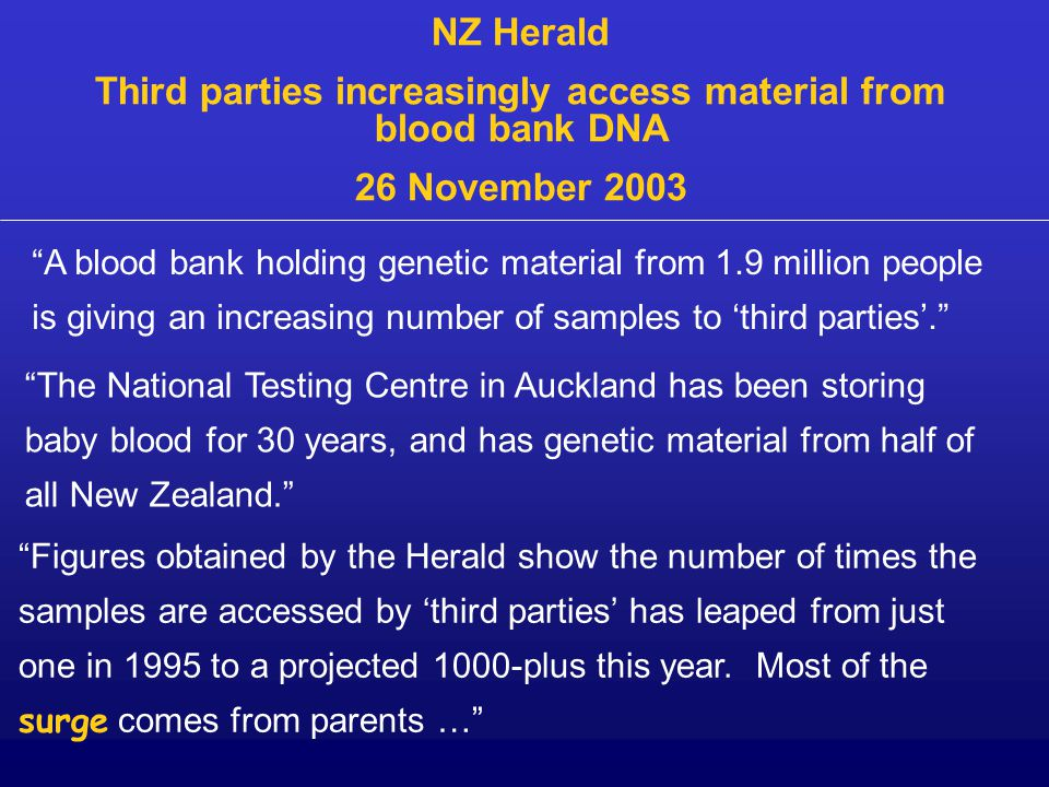 A blood bank holding genetic material from 1.9 million people is giving an increasing number of samples to 'third parties'. NZ Herald Third parties increasingly access material from blood bank DNA 26 November 2003 The National Testing Centre in Auckland has been storing baby blood for 30 years, and has genetic material from half of all New Zealand. Figures obtained by the Herald show the number of times the samples are accessed by 'third parties' has leaped from just one in 1995 to a projected 1000-plus this year.