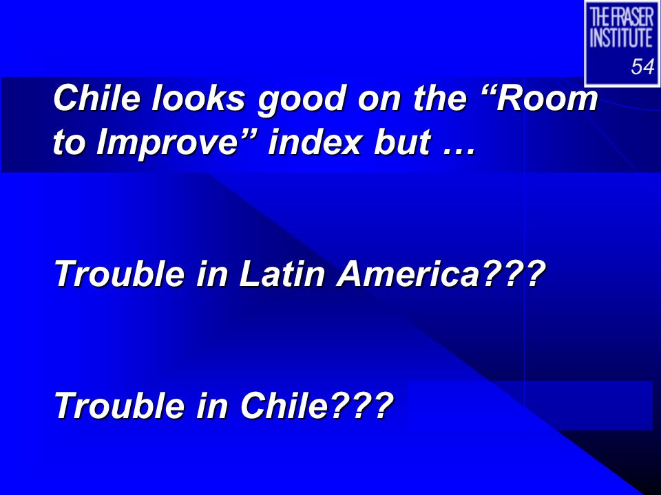 "54 Chile looks good on the ""Room to Improve"" index but … Trouble in Latin America??? Trouble in Chile???"