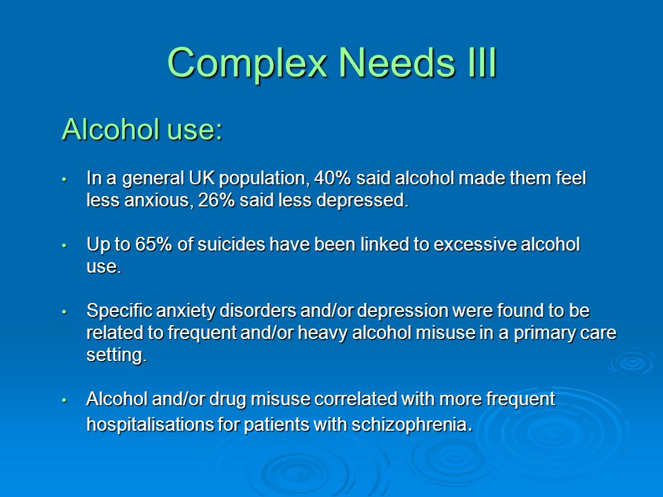 Complex Needs II Attention deficit hyperactivity disorder Attention deficit hyperactivity disorder Chronic pain Chronic pain Sleep disorders Sleep disorders Homelessness Homelessness Involvement with criminal justice system Involvement with criminal justice system