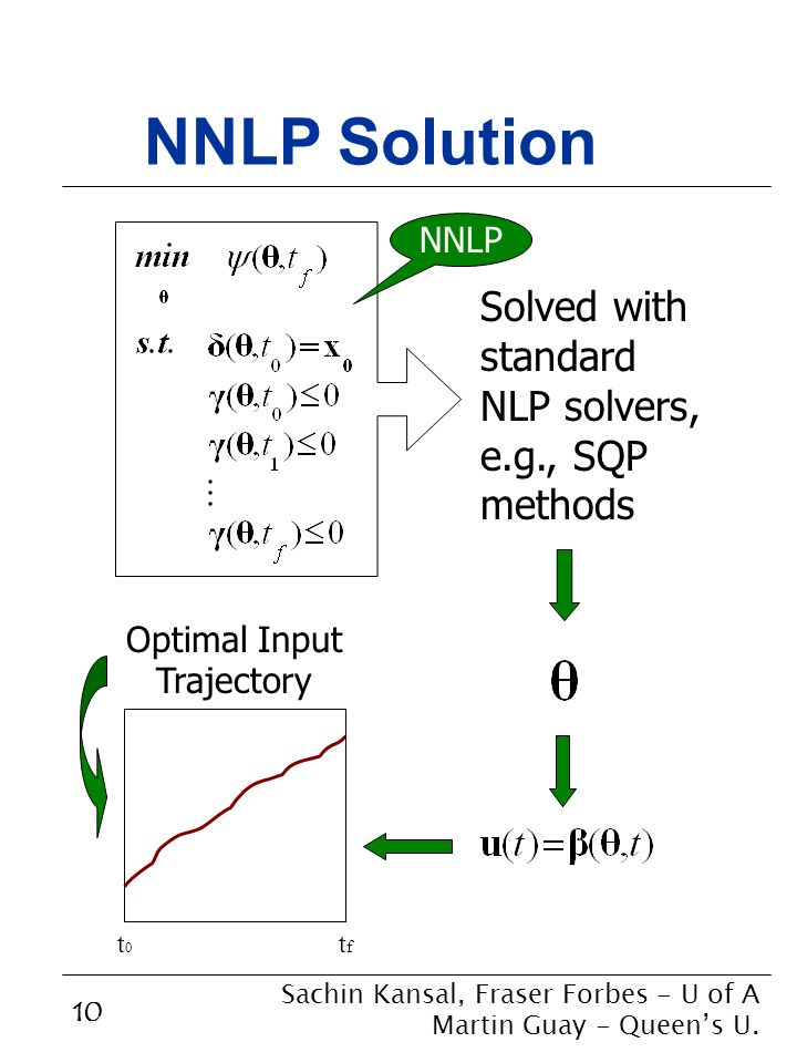 10 NNLP Solution Solved with standard NLP solvers, e.g., SQP methods NNLP t0t0 tftf Optimal Input Trajectory Sachin Kansal, Fraser Forbes - U of A Martin Guay - Queen's U.