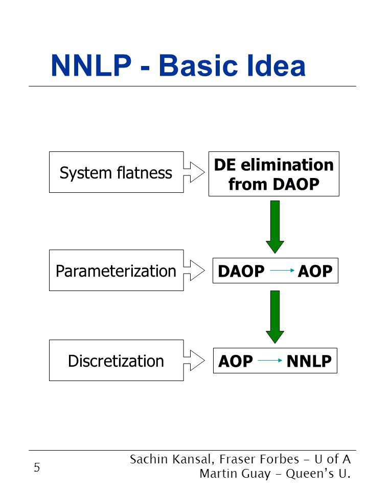 5 NNLP - Basic Idea DE elimination from DAOP DAOP AOP System flatness Parameterization AOP NNLP Discretization Sachin Kansal, Fraser Forbes - U of A Martin Guay - Queen's U.
