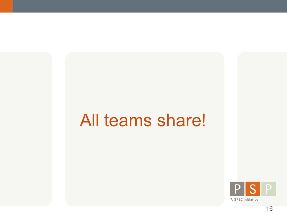 All teams share! 16