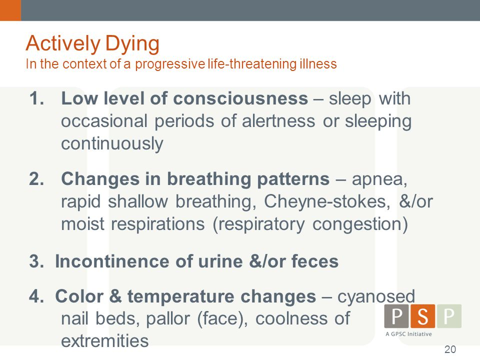 Actively Dying In the context of a progressive life-threatening illness 1.Low level of consciousness – sleep with occasional periods of alertness or s
