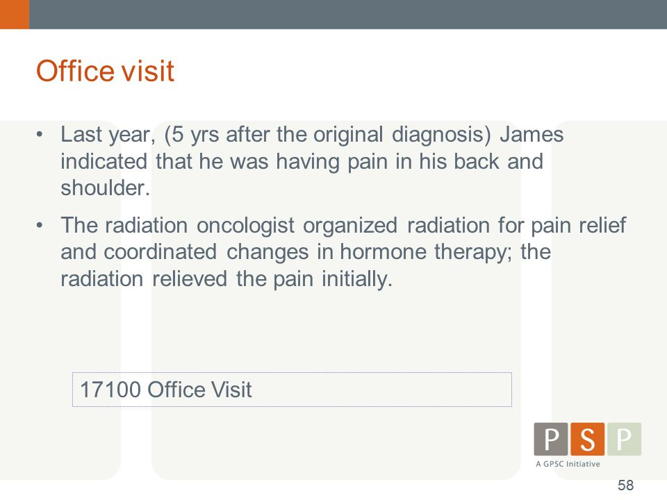Office visit Last year, (5 yrs after the original diagnosis) James indicated that he was having pain in his back and shoulder. The radiation oncologis