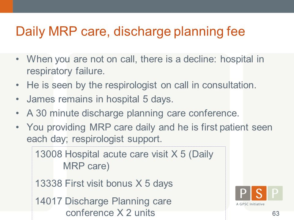 Daily MRP care, discharge planning fee When you are not on call, there is a decline: hospital in respiratory failure. He is seen by the respirologist
