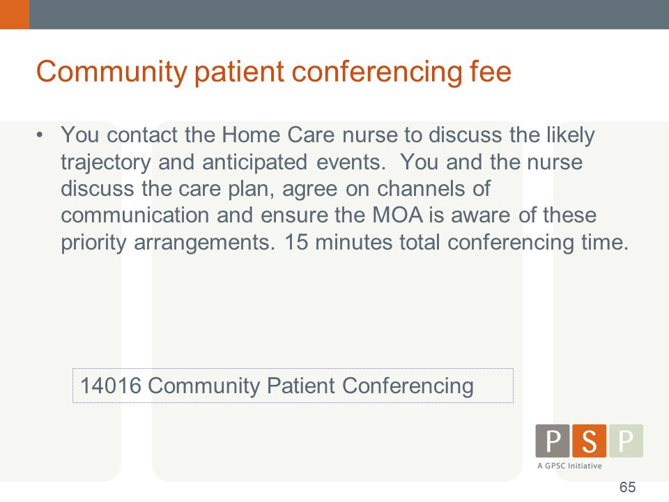Community patient conferencing fee You contact the Home Care nurse to discuss the likely trajectory and anticipated events. You and the nurse discuss