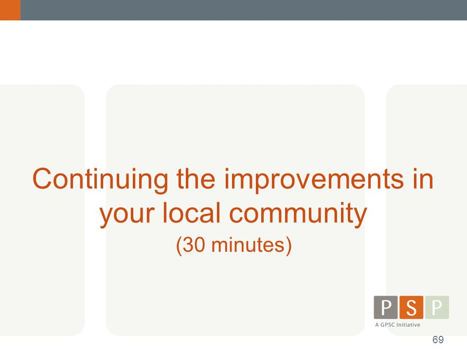 Continuing the improvements in your local community (30 minutes) 69