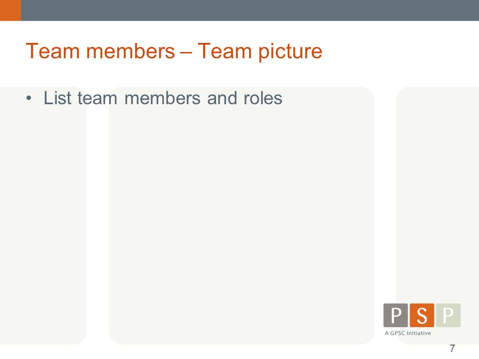 Team members – Team picture List team members and roles 77