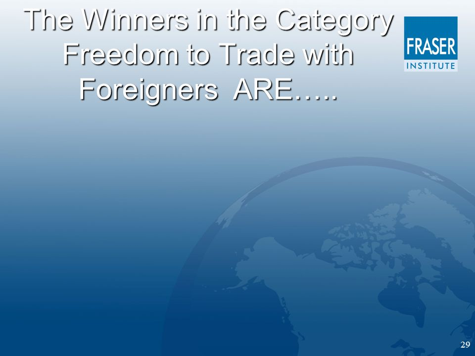 29 The Winners in the Category Freedom to Trade with Foreigners ARE…..