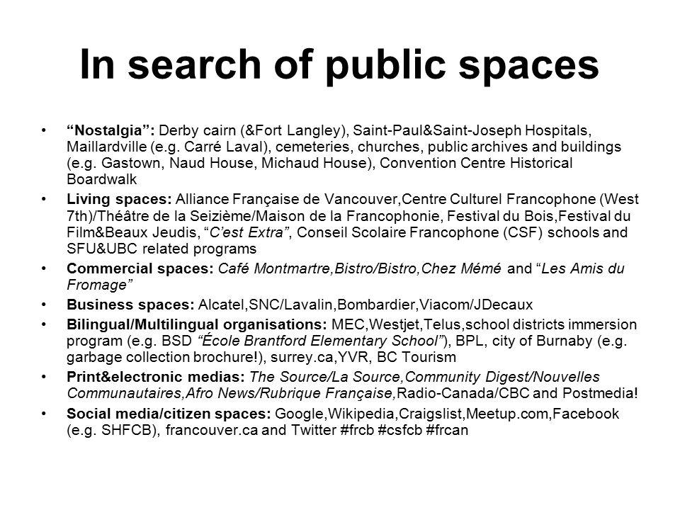 In search of public spaces Nostalgia : Derby cairn (&Fort Langley), Saint-Paul&Saint-Joseph Hospitals, Maillardville (e.g.
