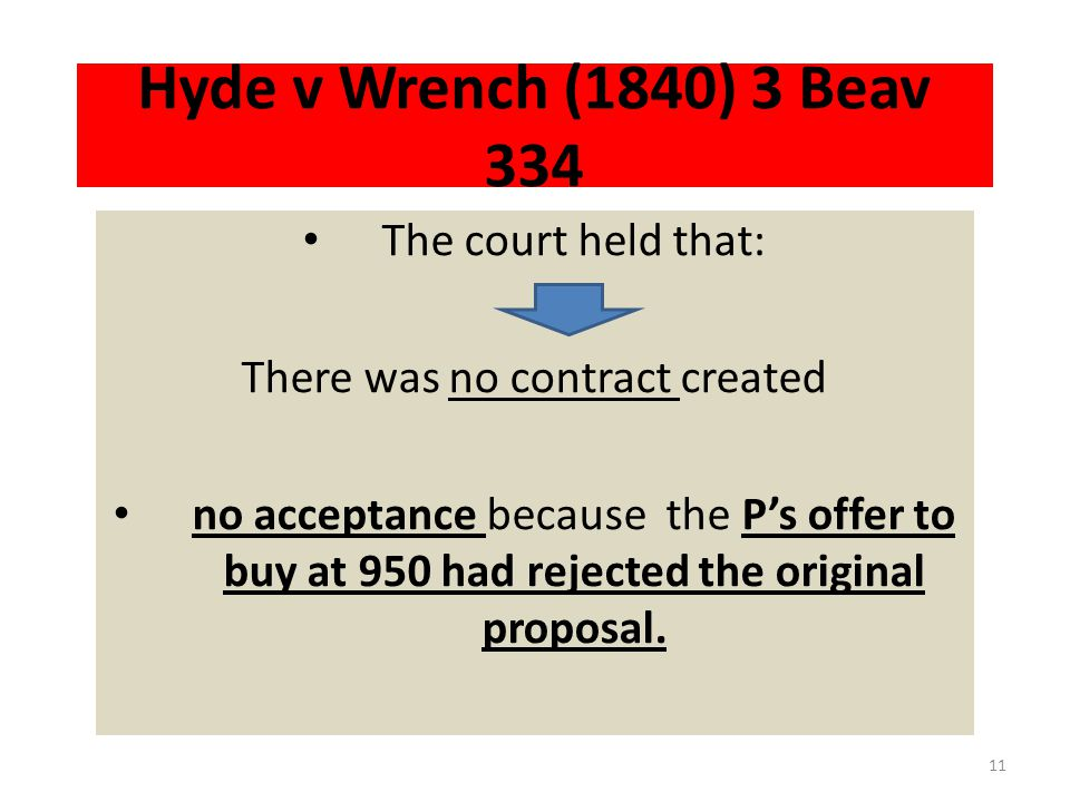 Hyde v Wrench (1840) 3 Beav 334 The D offered to sell his property to the P at 1000 pound.