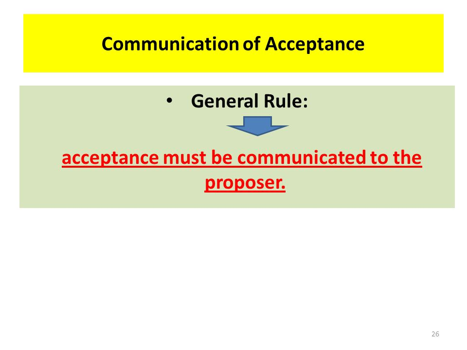 COMMUNICATION OF ACCEPTANCE 25
