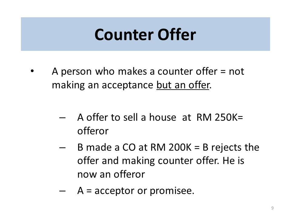 Counter Offer.