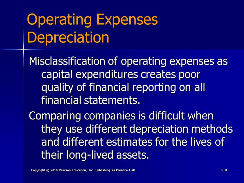 Copyright © 2010 Pearson Education, Inc. Publishing as Prentice Hall5-31 Operating Expenses Depreciation Misclassification of operating expenses as ca