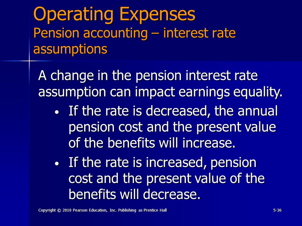 Copyright © 2010 Pearson Education, Inc. Publishing as Prentice Hall5-36 Operating Expenses Pension accounting – interest rate assumptions A change in