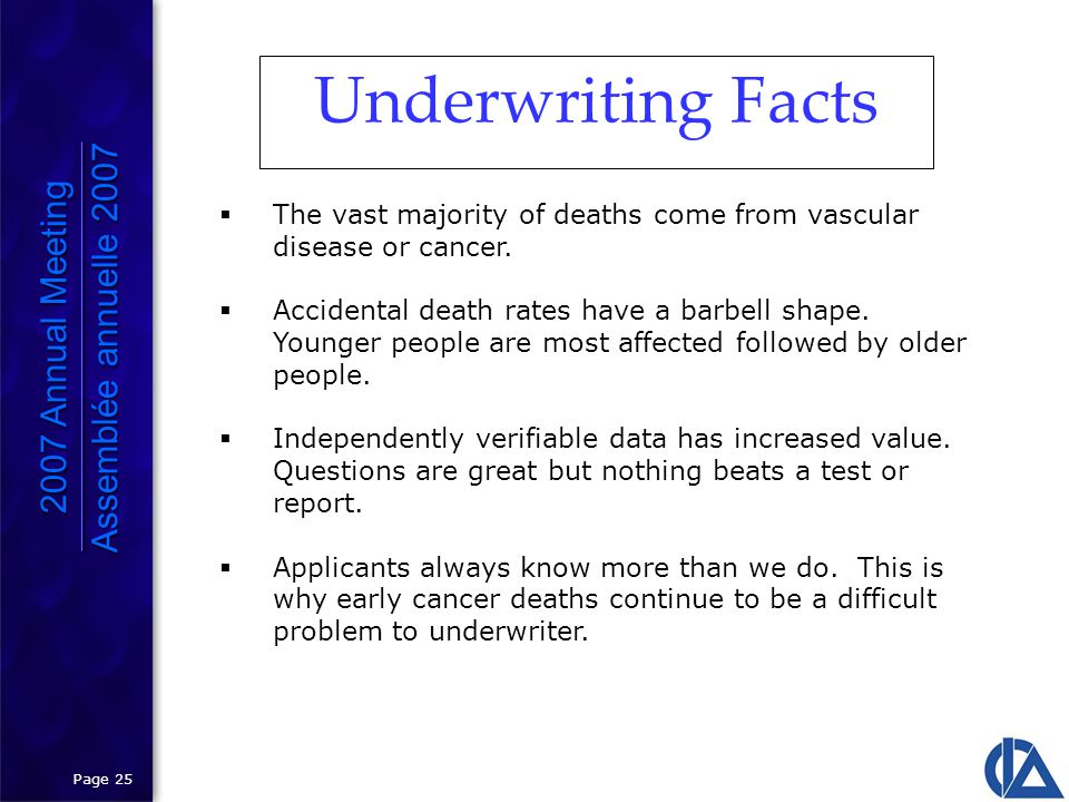 Page 25 Underwriting Facts 2007 Annual Meeting Assemblée annuelle 2007 2007 Annual Meeting Assemblée annuelle 2007  The vast majority of deaths come from vascular disease or cancer.