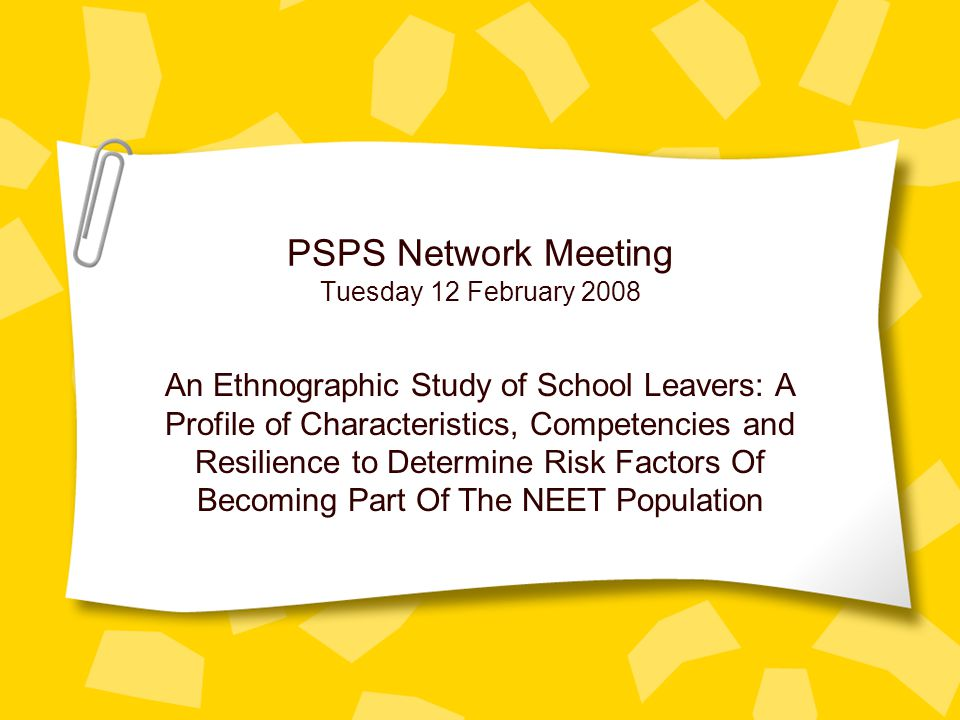 PSPS Network Meeting Tuesday 12 February 2008 An Ethnographic Study of School Leavers: A Profile of Characteristics, Competencies and Resilience to De