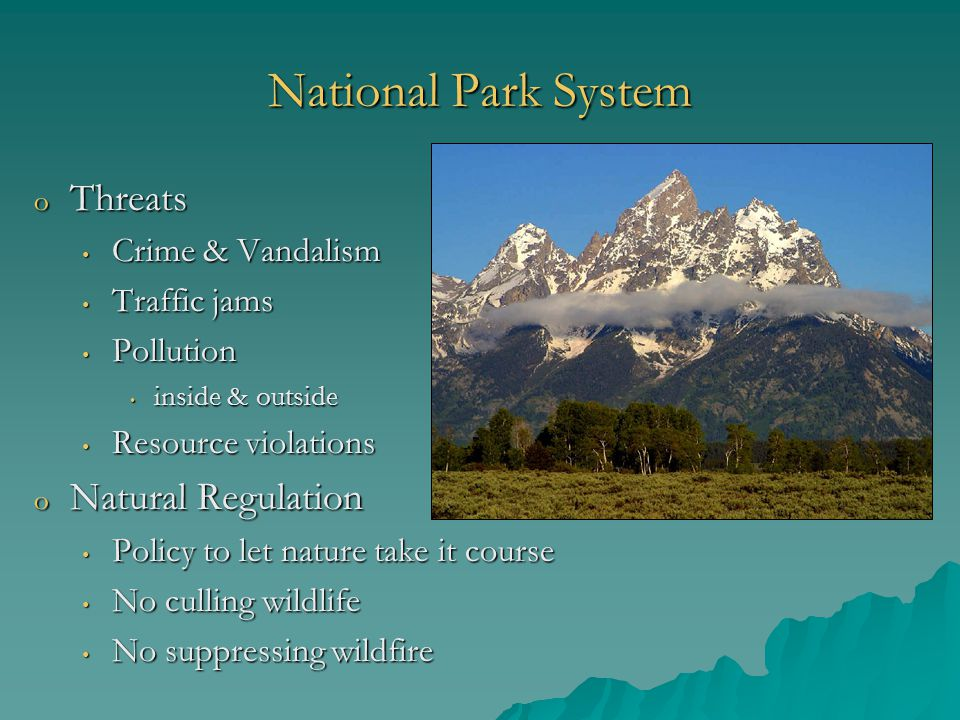 National Park System o Threats Crime & Vandalism Crime & Vandalism Traffic jams Traffic jams Pollution Pollution inside & outside inside & outside Resource violations Resource violations o Natural Regulation Policy to let nature take it course Policy to let nature take it course No culling wildlife No culling wildlife No suppressing wildfire No suppressing wildfire